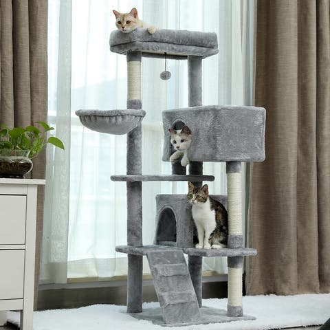 """56.2""""H Multi-Level Cat Tower With Hammock And Scratching Post"""