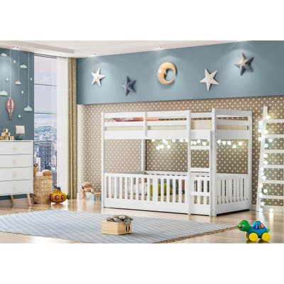 Themes and Rooms Twin Over Twin Solid Wood Low Loft Bunk Bed with Guardrail