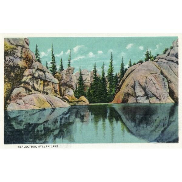Custer Park, SD - Sylvan Lake - Vintage Halftone (100% Cotton Towel Absorbent)