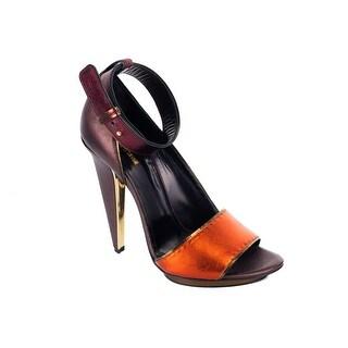 Roberto Cavalli Womens Brown Satin Ankle Strap Pumps