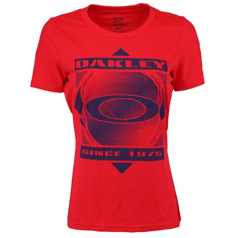 Oakley Women's Graphic Big Logo Since 1975 T-Shirt - Red/Blue