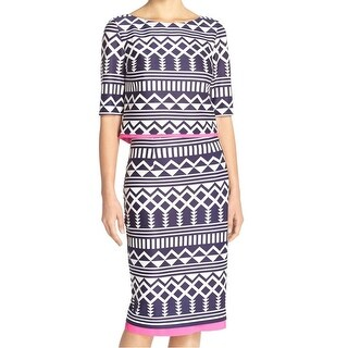 Eliza J NEW Blue Women's Size 10P Petite Aztec-Printed Skirt Set