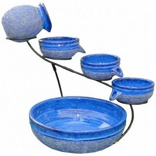 Smart Solar 23967R01 Blueberry Ceramic Solar Cascade - Rustic Blue