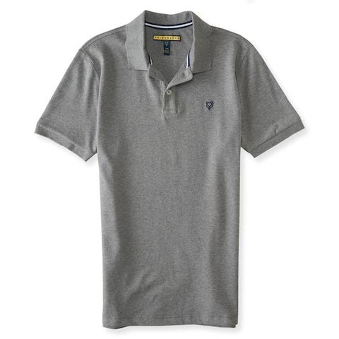 Aeropostale Mens Premium Stretch Rugby Polo Shirt, Grey, X-Small
