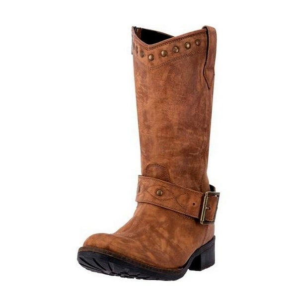 Dingo Western Boots Womens Tulula Stud Round Toe Leather Brown