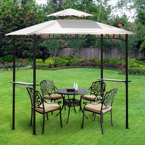 Outdoor Furniture Aluminum Set with Swivel Arm Chair & Cushions