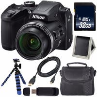 Nikon COOLPIX B500 Digital Camera (Black) (Certified Refurbished) + 32GB SDHC Card + Flexible Tripod + Carrying Case Bundle