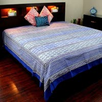 Block Print Cotton Floral Buti Tapestry Wall Hanging Tablecloth Bedspread Coverlet Beach Sheet Throw Blanket Blue Full