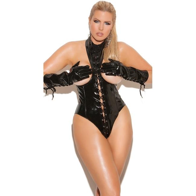 Plus Size Cupless Lace-up Teddy Plus Size Black Leather Open Cup Bodysuit