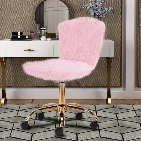 Fakefur Makeup/Vanity Chair Golden Leg - Mid-Back Dressing Chair - Adjustable and Swivel Desk Chair