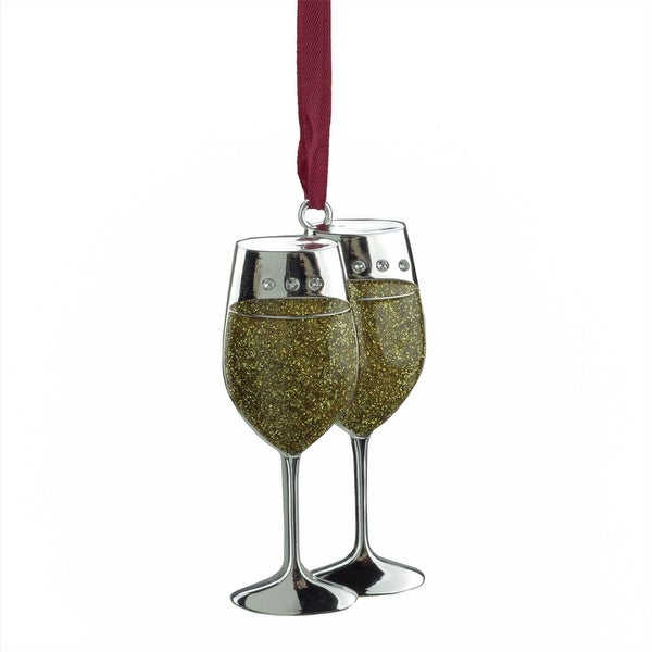 "3.25"" Regal Shiny Silver-Plated Gold Glitter Wine Glasses Ornament with European Crystals - silver"
