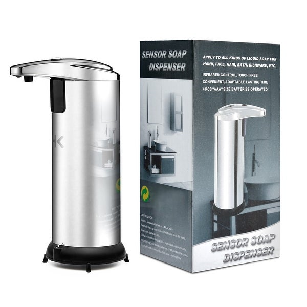 Image Automatic Touchless Soap Dispenser No Touch Liquid Sensor Stainless Steel Dispenser w/ Base 250ml - SIZE