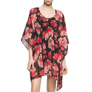Calvin Klein Womens Floral Cover Up Tunic Pink and Black Large X-Large L/XL