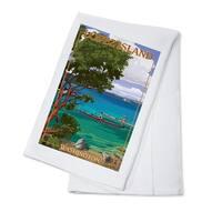 Lopez Island, WA - Kayakers - LP Artwork (100% Cotton Towel Absorbent)