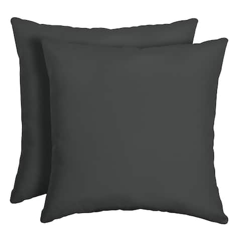 Arden Selections Slate Canvas Texture Outdoor Square Pillow 2-Pack - 16 in L x 16 in W x 5 in H