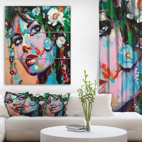 Designart 'Woman Portrait Flowery mood' Glamour Print on Wrapped Canvas set - 28x36 - 3 Panels
