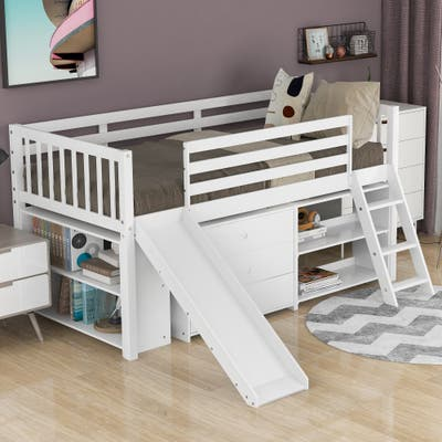 Low Loft Bed with Bookcases and Separate 3-tier Drawers,Twin