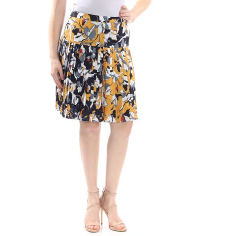 FRENCH CONNECTION Womens Yellow Color Block Knee Length Wear To Work Skirt Size: 8