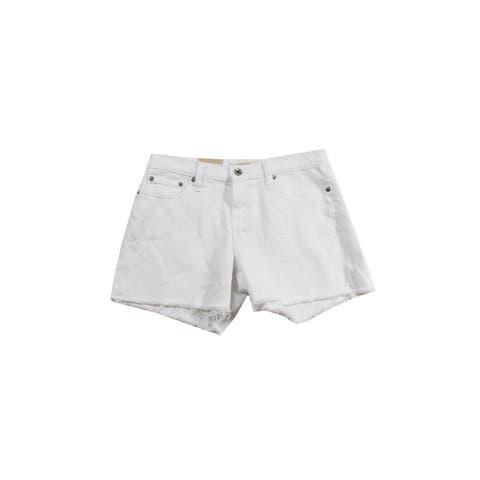 Big Star White Alex Frayed-Hem Shorts 28