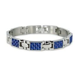 Titanium Men's Link Bracelet with Blue Carbon Fiber Accents (10mm Wide) 7.75 Inches
