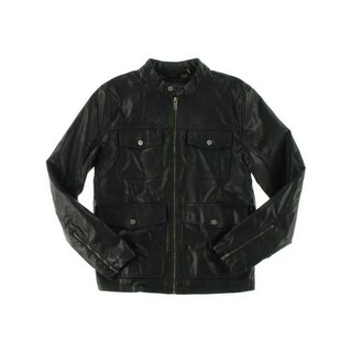 Guess Mens Motorcycle Jacket Faux Leather Long Sleeves