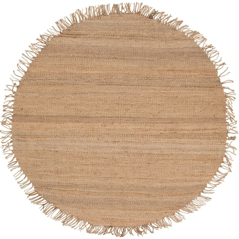 Hand-woven Natural Fiber Jute Area Rug - 6' Round - 6' Round