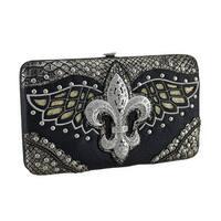 Rhinestone Fleur De Lis Metallic Filigree Wings and Trim Hinged Wallet