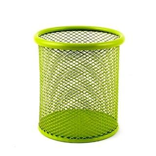 Home Office Metal Meshy Desktop Decor Pencil Ruler Pen Holder Container Green