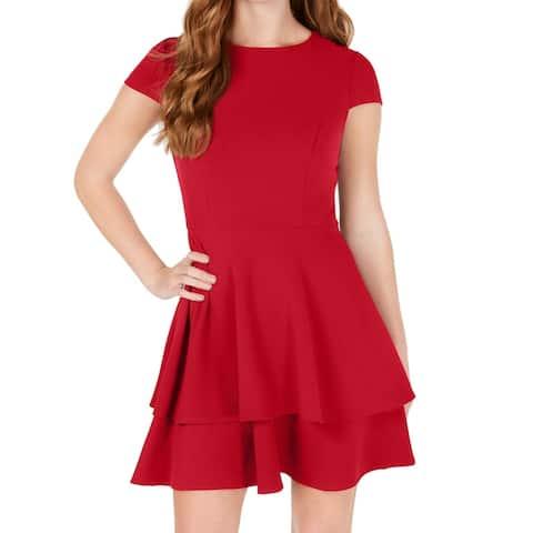 B. Darlin Cherry Junior's A-Line Dress Tiered Tie Back