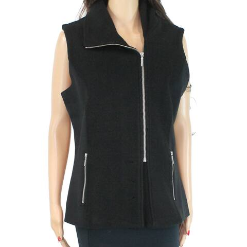 Icelandic Women's Sweater Black Size 1X Plus Vest Sleeveless Wool