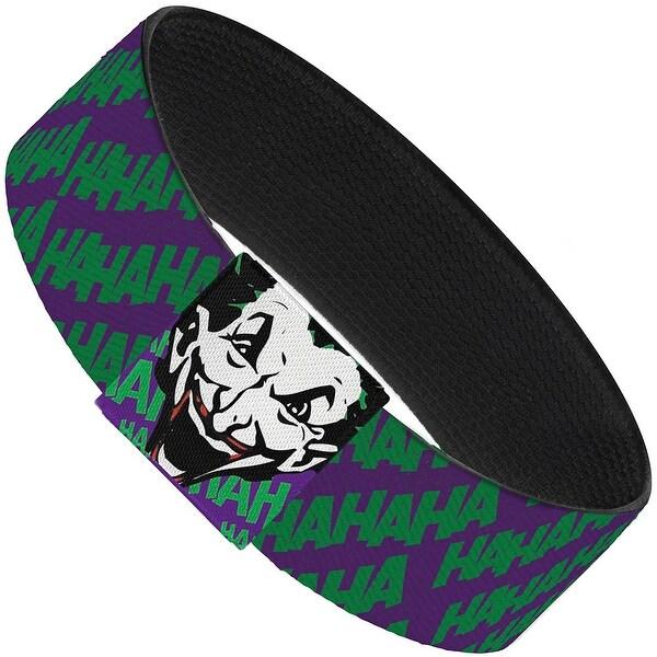 "Joker Hahaha Purple Green Elastic Bracelet 1.0"" Wide"