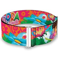 Dora The Explorer Dora Poses Floral Collage Orange Pink Cinch Waist Belt   ONE SIZE