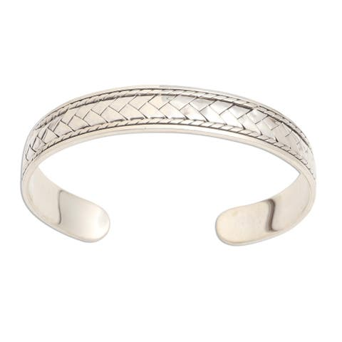 NOVICA Woven Dreams, Sterling silver cuff bracelet