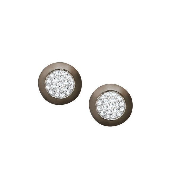 1/4 ct Pavé Diamond Stud Earrings in Sterling Silver