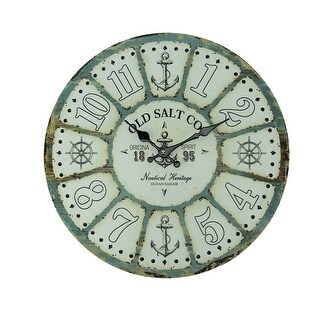 Old Salt Co Weathered Wood Nautical Wall Clock - 15.75 X 15.75 X 1.25 inches