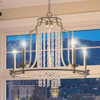 """Luxury Moroccan Chandelier, 24""""H x 28""""W, with Shabby Chic Style, Antique Silver Finish by Urban Ambiance"""