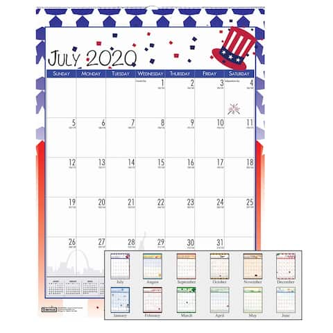 "Monthly Academic Wall Calendar, Seasonal Holiday Depictions, July-June, 12"" x 16-1/2"" - One Size"