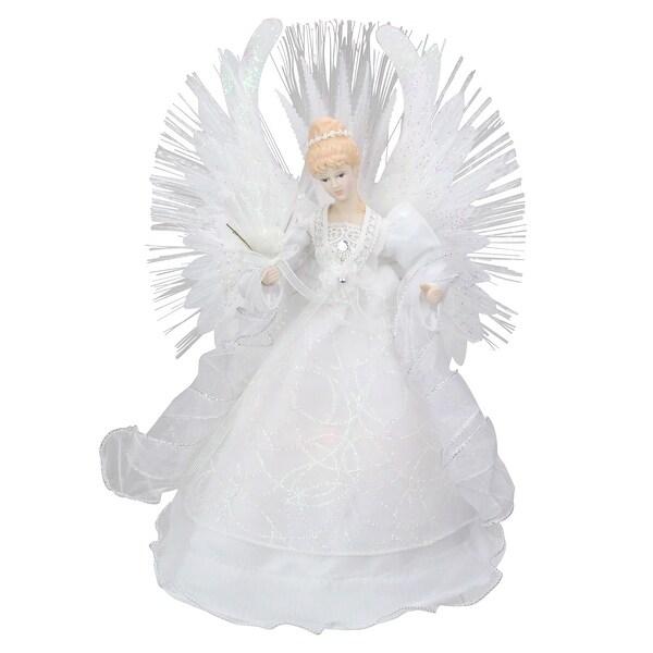 "15"" Deluxe White Fiber Optic Floral Angel Christmas Tree Topper"