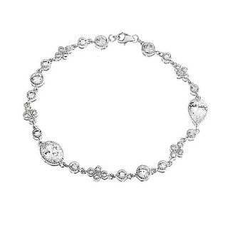 Bling Jewelry Bridal Victorian Style CZ Sterling Silver Tennis Bracelet