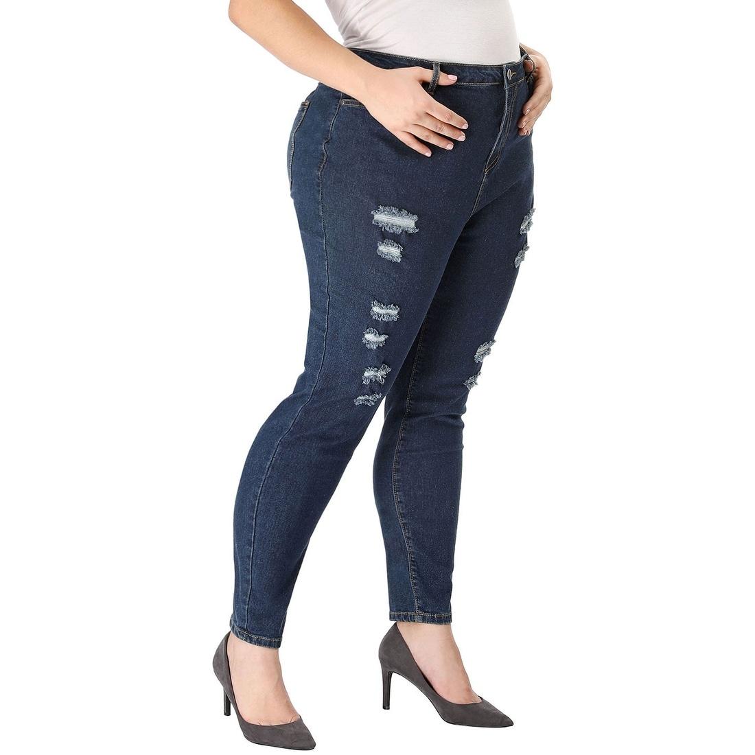 Ladies Womens Black 3//4 Length Jeans Trouers Skinny Leg Jean Belt Loops Zip Fly