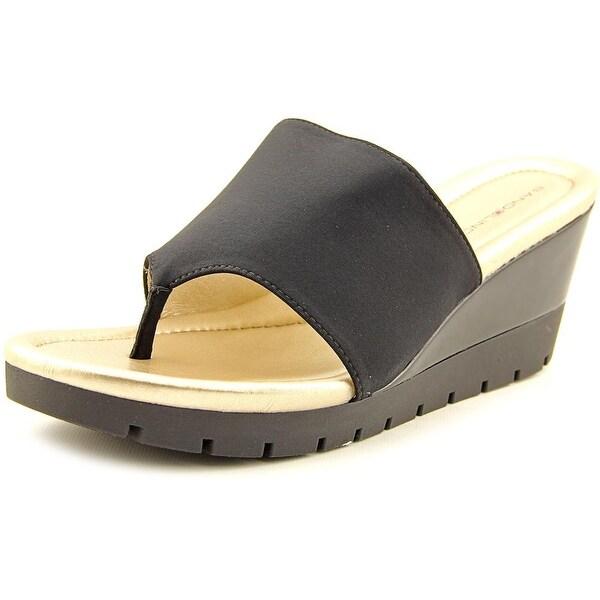 Bandolino Meadoe Women Open Toe Canvas Black Wedge Sandal