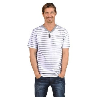 V-Neck White Gray Stripes Mens Shirts B206