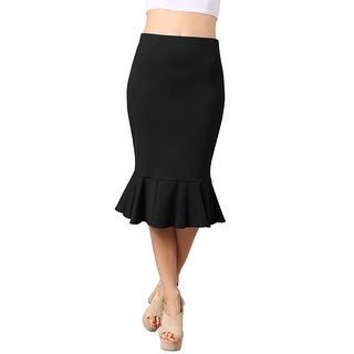 NE PEOPLE Women's Fitted Fishtail Flare Ruffle Party Work Midi Skirt