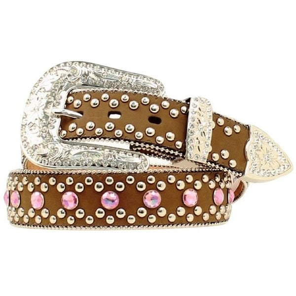 Blazin Roxx Western Belt Womens Leather Crystal Brown Pink