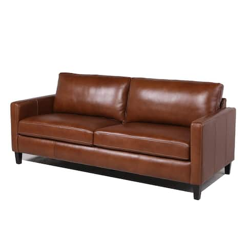 """Strick & Bolton Berube Brown Leather Sofa - 81""""Wx36""""Dx36""""H"""