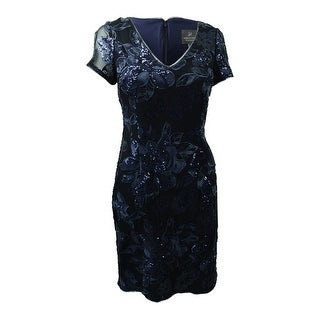 Adrianna Papell Women's Short-Sleeve Sequin Lace Dress - navy