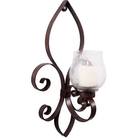"Palais Glassware Fleur De Lis Motif Art Bronze Metal Candle Holder (Medium Wall Sconce 17"")"