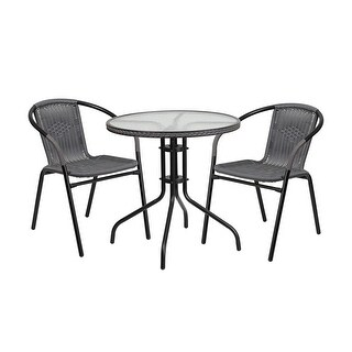 Offex 28'' Round Glass Metal Table with Gray Rattan Edging and 2 Gray Rattan Stack Chairs