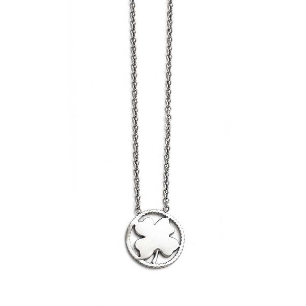 Chisel Stainless Steel Polished Four Leaf Clover Necklace - 17.25 in