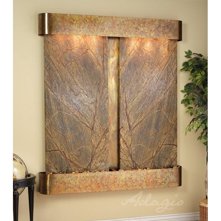 Adagio Cottonwood Falls Fountain w/ Green Featherstone in Rustic Copper Finish - Thumbnail 0